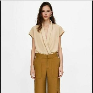 Zara beige faux wrap knit bodysuit ❤️